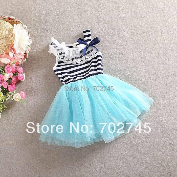2014 New Girl Dresses Cotton Gauze Stripe Tiered Dress Summer Slip Dress 168 White Blue Red