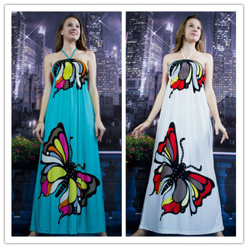 Free Shipping Good Quality High Elasticity Fabric Butterfly Pattern Sexy Fashion Women Dress D045-D046