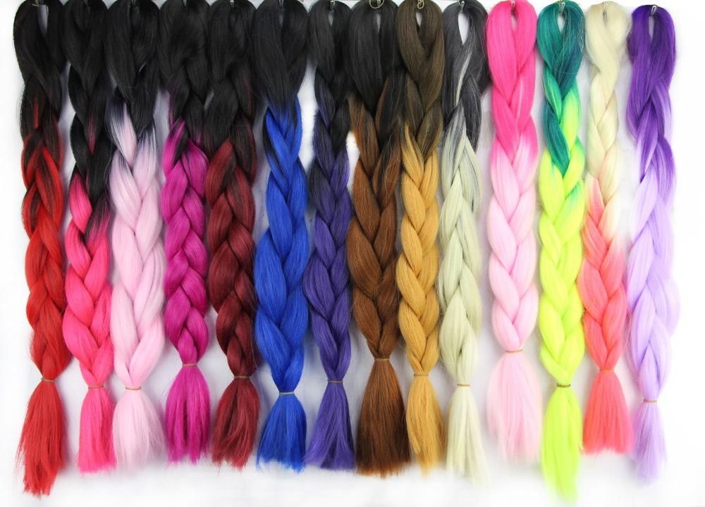 Kanekalon Ombre Braiding Hair Blue Purple Pink Brown Red