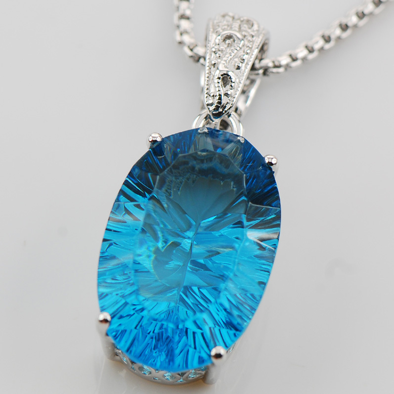 Huge Concave Cut Blue Topaz 925 Sterling Silver Pendant TE553(China (Mainland))