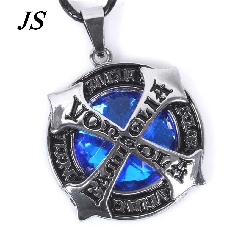 JS 2016 Imitation Sapphire Power Necklace Male Antique Alloy Cross Pendant Female Blue Stone Jewelry LN003(China (Mainland))