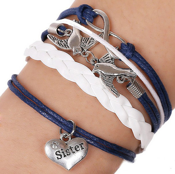 Cute Bird Sister Heart Infinity Charm Antique Silver Leather Wax Cords Bracelet, Fashion Handmade Multilayer Bracelets Jewelry(China (Mainland))