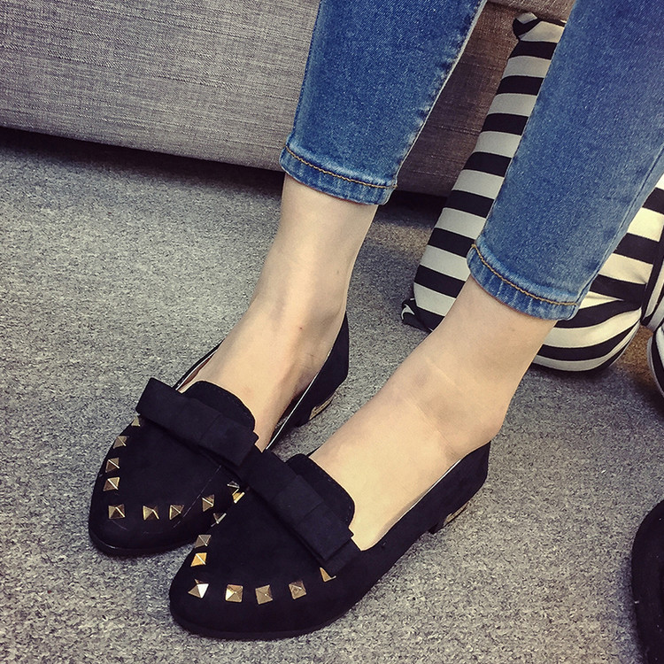 2016 Spring Sweet Bowtie Pointed Toe Women Flats Fashion Rivet Flats Flock Ladies Shoes Causal Student Square Flat Heel Shoes