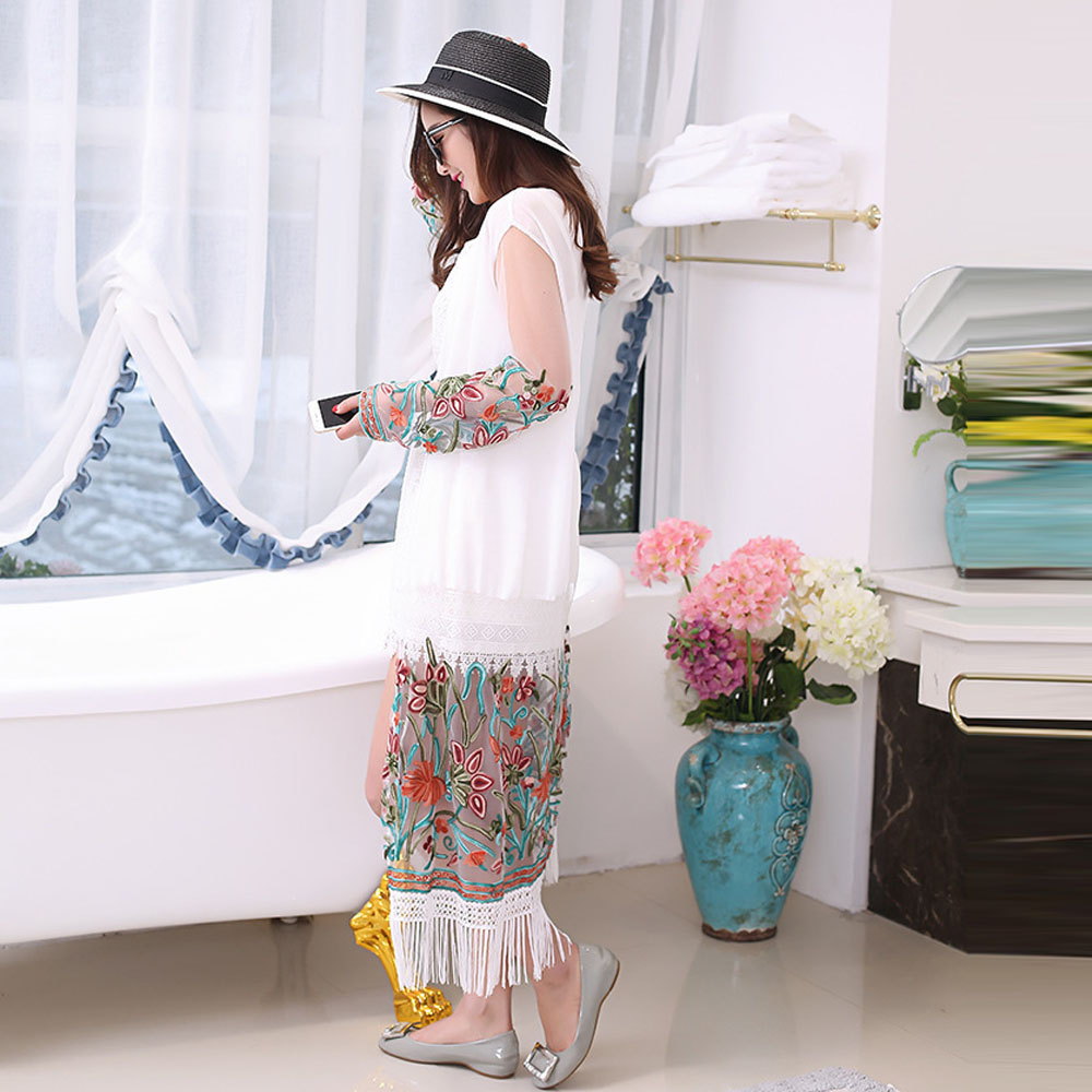 2017 Summer Women Long section Tassel Kimono Cardigan Tops Ladies White Black Lace Vintage Ethnic Embroidery Blouse Clothes