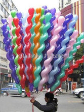 Wholesale 200Pcs/Lot Screwed Latex Twisting Spiral Balloons Conventional Festival Balloons Wedding Party & Holiday Decoration(China (Mainland))