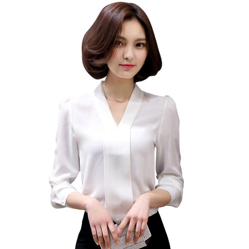 Blusas Femininas 2016 New Fashion V-Neck Long Sleeve Plain White Shirt Women Summer Tops Plus Size Women Blouses And Shirts(China (Mainland))