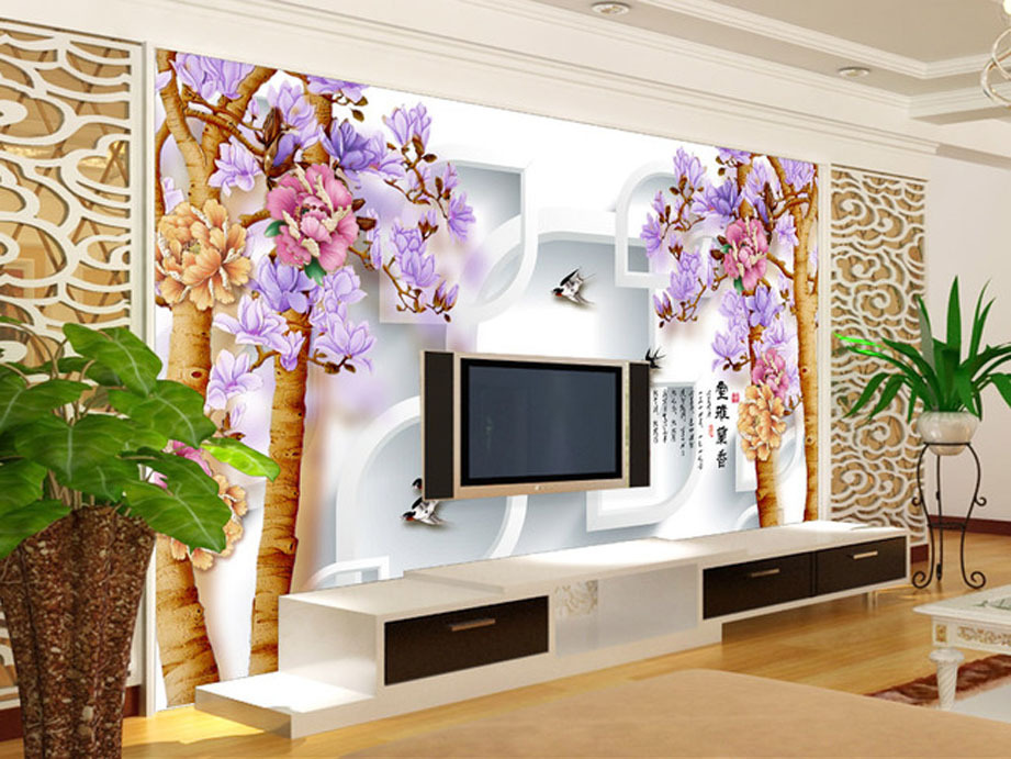 Indoor living room fashion Chinese restaurant 3D stereoscopic TV backdrop of tree peony Blossoming simple design free shipping(China (Mainland))