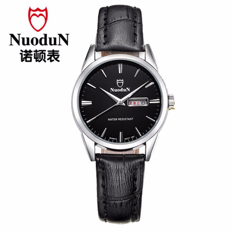 Мода Мужчины Кварцевые Часы Мужчины Luxury Brand мужская Montre Homme Кварц Повседневная Наручные Часы Nuodun Натуральная Кожа Кварцевые Часы