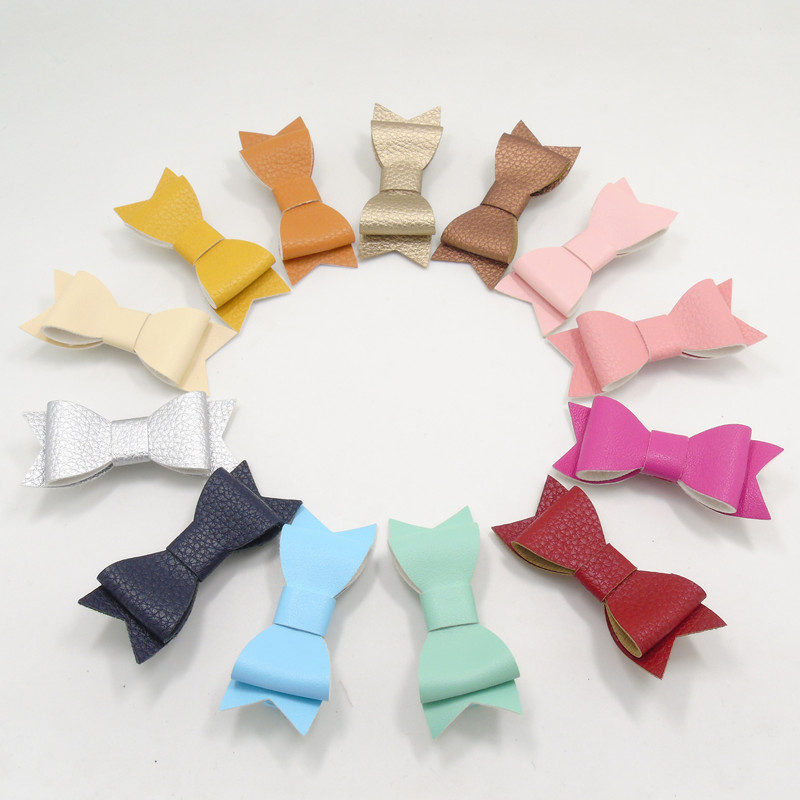 13pcs/lot Synthetic Leather Bow Hair Clip Fashion Hot Pink Yellow Orange Mint Toddler Barrettes Newborn Children Teen Hairpin(China (Mainland))