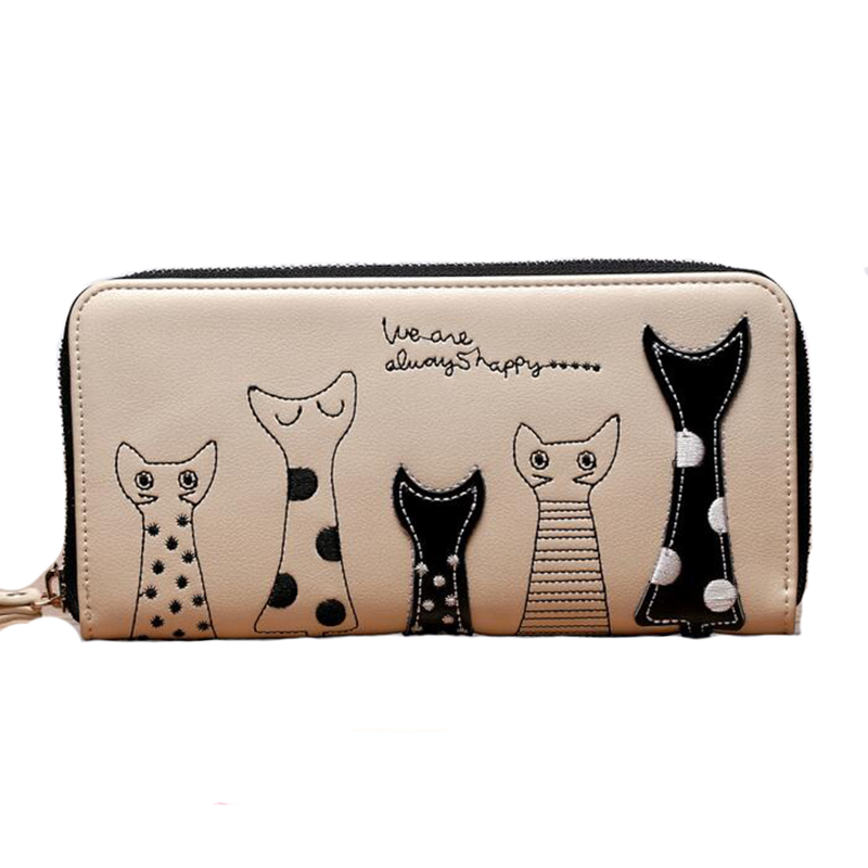 2015 New Ladies Purses In Europe And America Long Wallet Female Cards Holders Cartoon Cat PU
