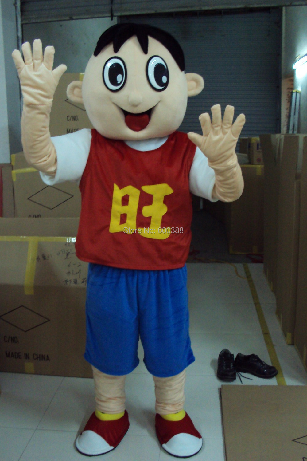 New chinese boy mascot costume top fancy dress christmas gift character kids party costume(China (Mainland))