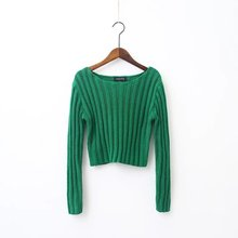 spring autumn western style fashion cute long sleeve 5 colors SM bare midriff woman's Casual short pullover Sweaters knitwear(China (Mainland))