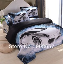 Black White New 2014 Modern Car Printed 3D home textile bed linen bedding cotton full queen size comforter sheets bedclothes set(China (Mainland))