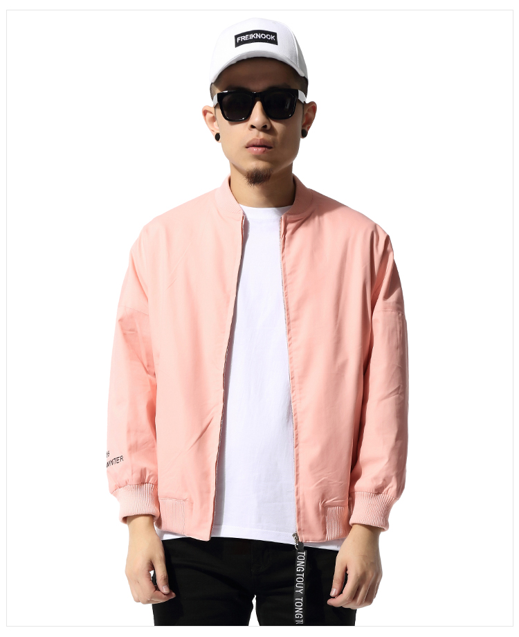 Pink Casual Men Jacket Hip Hop Loose Pink Bomber Jacket Autumn Jacket XD021-in Jackets from Men ...