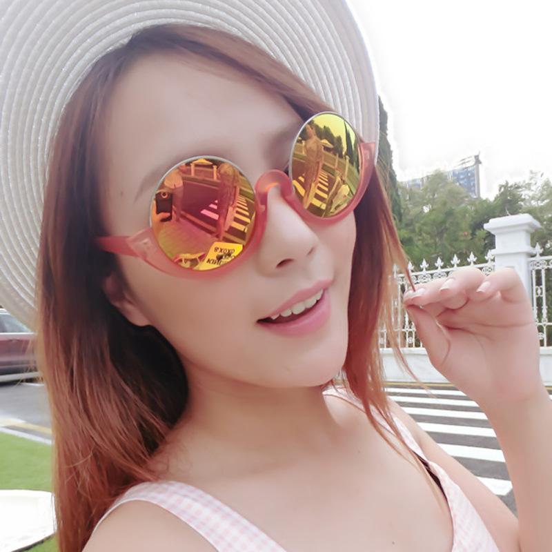 Ms personality new half frame sunglasses lenses star big frame glasses(China (Mainland))