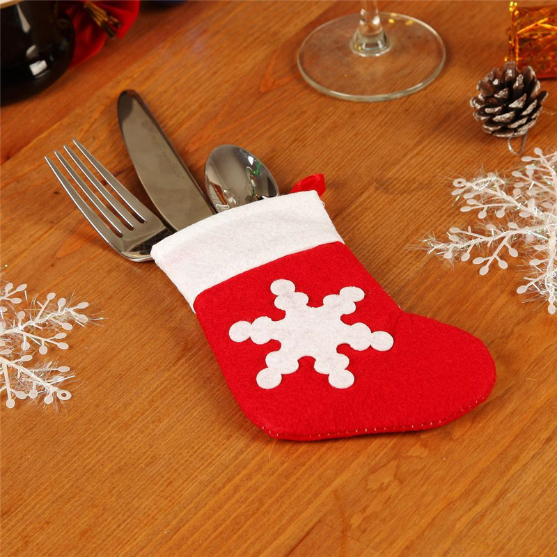 25pcs Christmas Decor Pretty snowflake pattern Xmas Sock Tableware Cutlery bags Dining Table decorations Fork Pocket Candy Bag(China (Mainland))