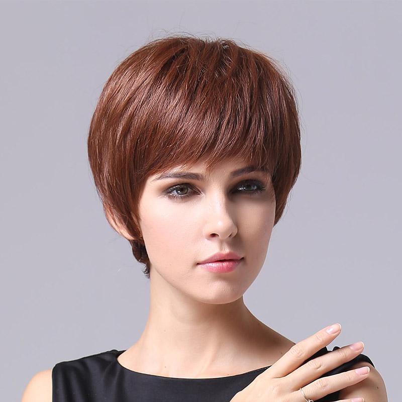 Фотография Human hair Beautiful hairstyle Fashion Wig woma  Hand-woven top center