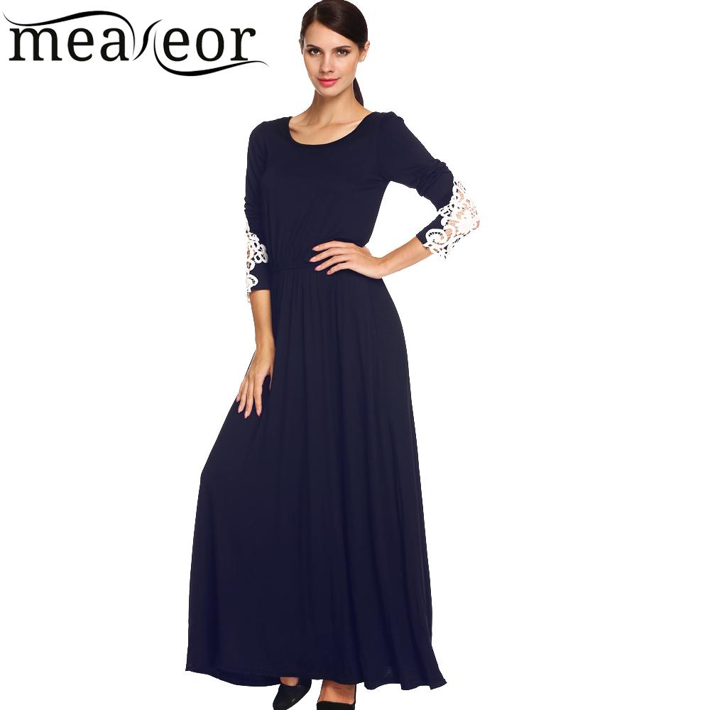 Meaneor New Sexy vestidos 2015-2016 Lady Women Elegant Lace Long Sleeve Maxi Dress with Elastic Waistband(China (Mainland))