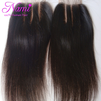 """6A Peruvian Virgin Human Straight Hair Lace Closure 3 Way Part 4""""x4"""" Bleached Knots Free Or Middle Or Three Part Free Shipping"""