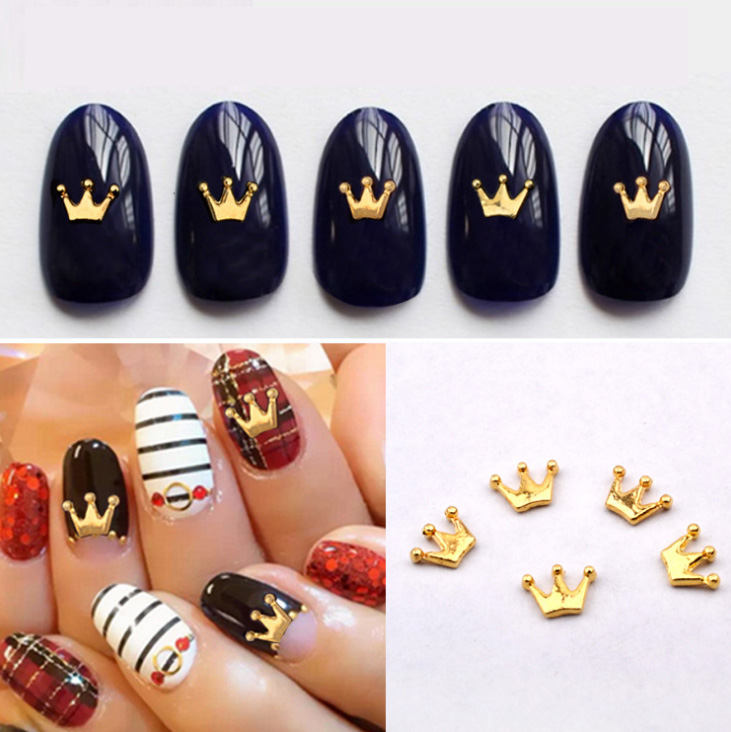 10pcs new gold metal crown nail art decoration diy beauty for 3d nail art decoration
