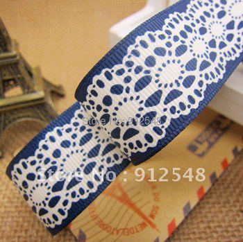 Free shipping, Lace pattern printed 1'' (25mm)blue color Grosgrain ribbon Polyester gift package ribbon DIY hairbow accessories