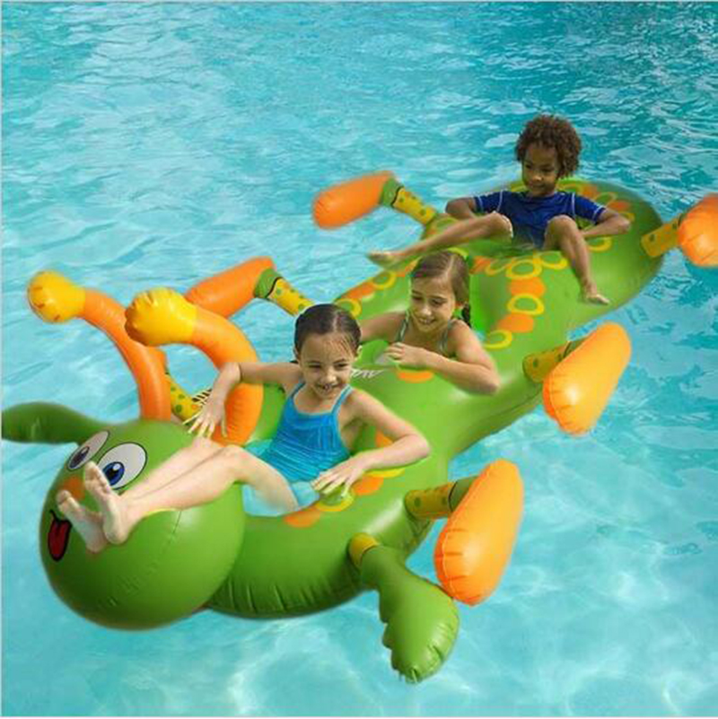 1.8M Inflatable Flamingo Ride-On Pool Toy caterpillar Float inflatable pool Swim Ring for children Holiday Water Fun Pool Toys(China (Mainland))