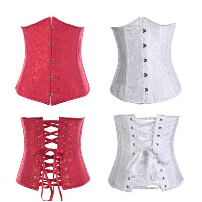Plus size lace up boned underbust embroidered corset waist for White corset under wedding dress