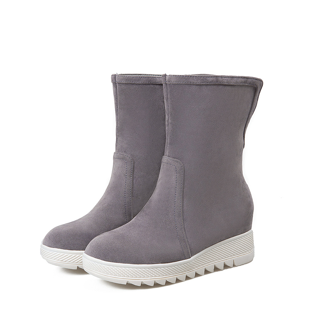 HAIOU 2016 Winter Fashion Snow Boots Wedges Mid-calf Women Boots Thermal Female Winter Warm Shoes Round Woman Big Size 34-43