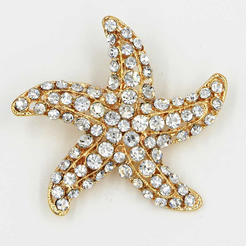 DHL FREE SHIPPING GOLD PLATED CLEAR CRYSTAL ALLOY STARFISH BROOCH PINS<br><br>Aliexpress