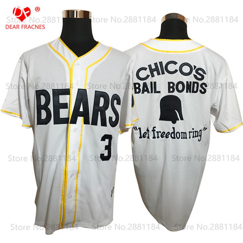 Bad News Bears Movie 1976 Chico's Bail Bonds WHITE Men Baseball Jersey #12 Tanner Boyle #3 Kelly Leak BUTTON DOWN 11 20 13 Blank(China (Mainland))
