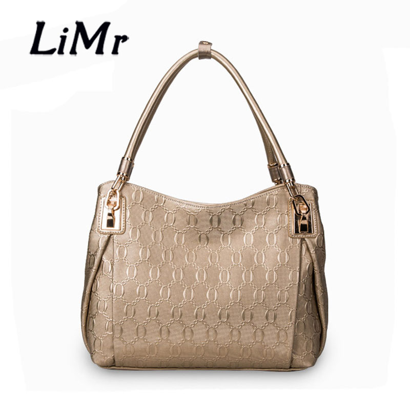 LiMr New Fashion Genuine Leather Women Handbags European American Solid Soft Character Embossed Cowhide Leather Shoulder Bags<br><br>Aliexpress