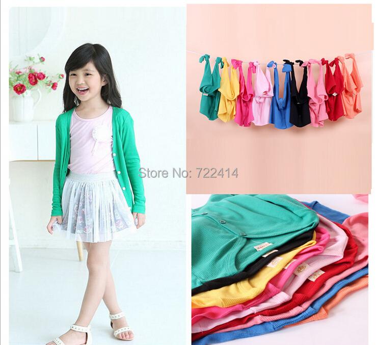 Гаджет  New 2015 spring autumn Girls Boys Long Sleeve button V-neck Shirt jackets kids Candy Color Sweater Cardigan None Детские товары