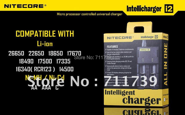 Free Shipping + 1PC Nitecore i2 Microcomputer Controlled Intelligent Charger Li-ion/NiMH Battery Charge