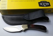 Envío gratis alta calidad del OEM Buck 113BRS camping caza cuchillos de supervivencia del cuchillo de hoja fija herramienta de mano envoltura de cuero mejor regalo