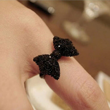 Fashion Vintage Cute Black Rhinestone Butterfly Bow Rings Jewelry Hot Selling Accessories For Women Wholesale 2016