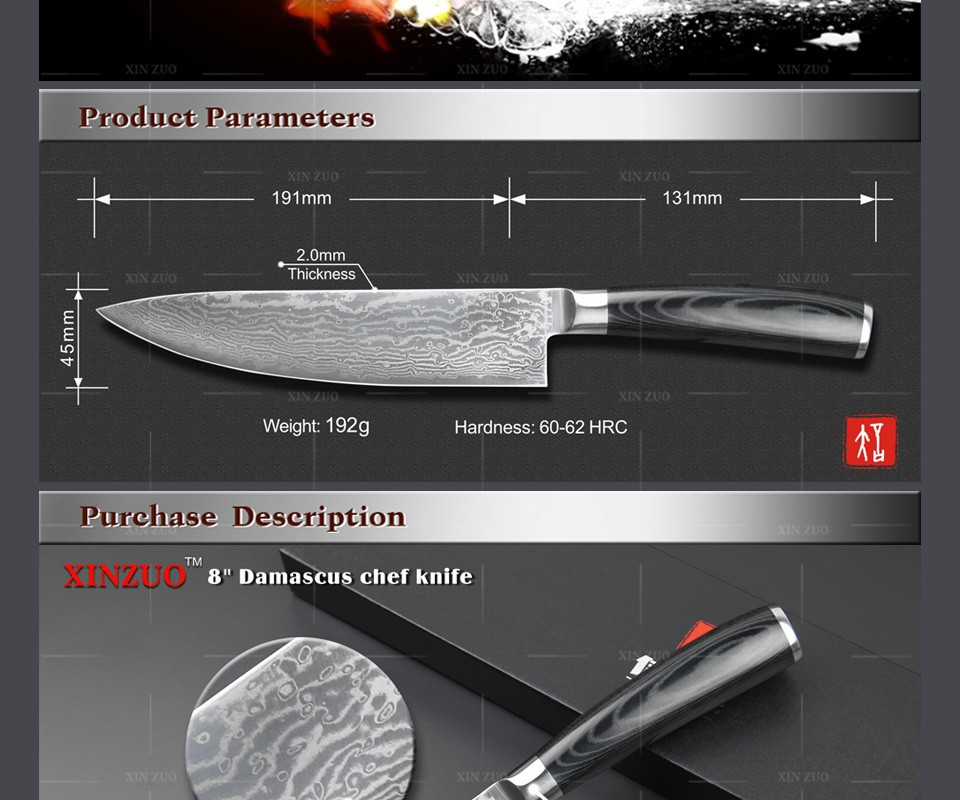 "Buy COCX High quality 8"" chef knfie Japanese 73 layers Damascus VG10 steel kitchen chef knives cooking Micarta handle Free shipping cheap"