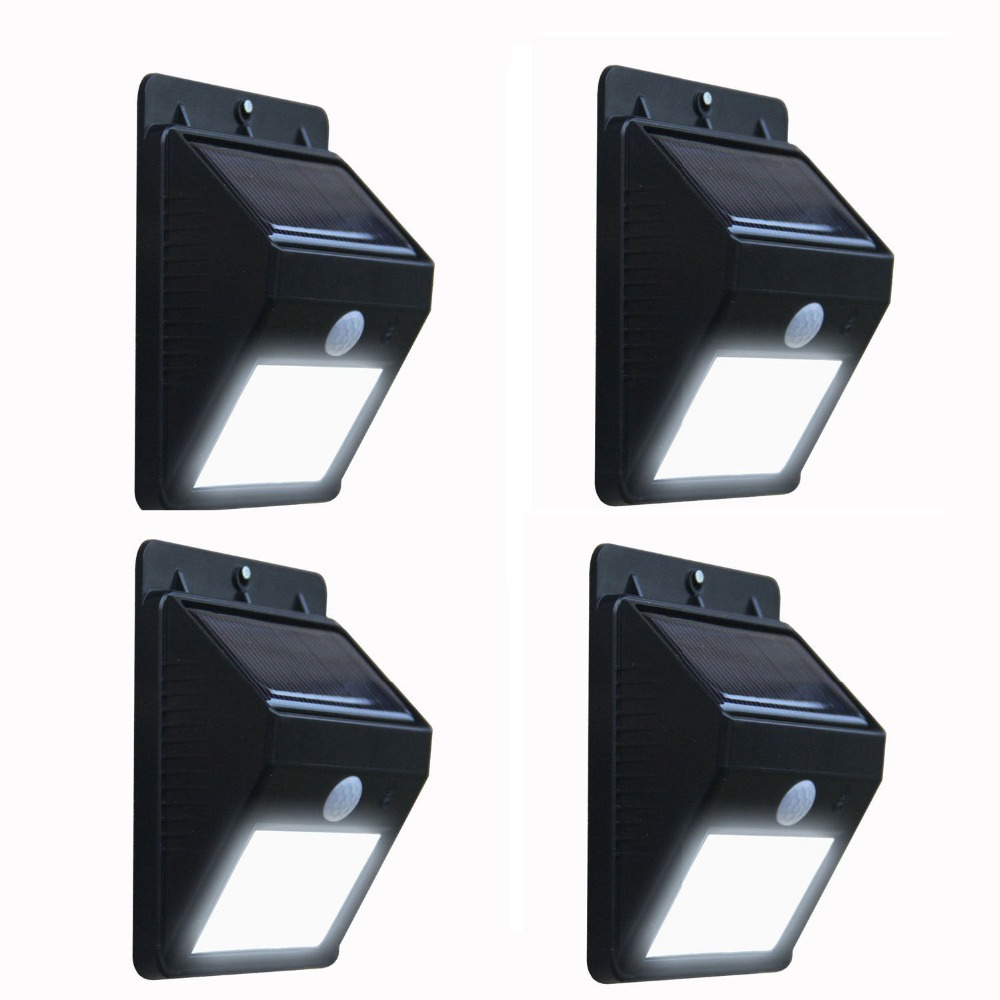 (4 PACK )PIR Solar Panel Power Motion Sensor LED Light Bright Garden Wall Path Lamp [HY-SW043-x4-US](China (Mainland))