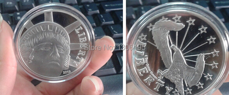 Lot wholesale High quality 2013 LIBERTY Eagle souvenir coins silver plated gift products 15pcs/lot(China (Mainland))