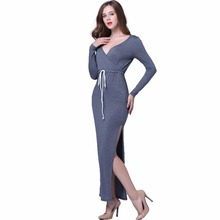 Buy Fashion Sexy Elegant Spring Autumn Long Sleeve Maxi Bandage Women Dress Female Lady Bodycon Party Tunic Clothing Clothes 2017 for $12.59 in AliExpress store