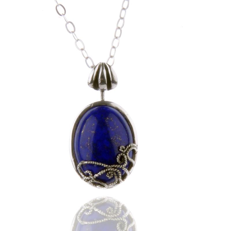 Vampire Diaries 925 Silver Katherine Necklace Natural Lapis Lazuli Katherine Necklace Pendant Womens Jewelry<br><br>Aliexpress