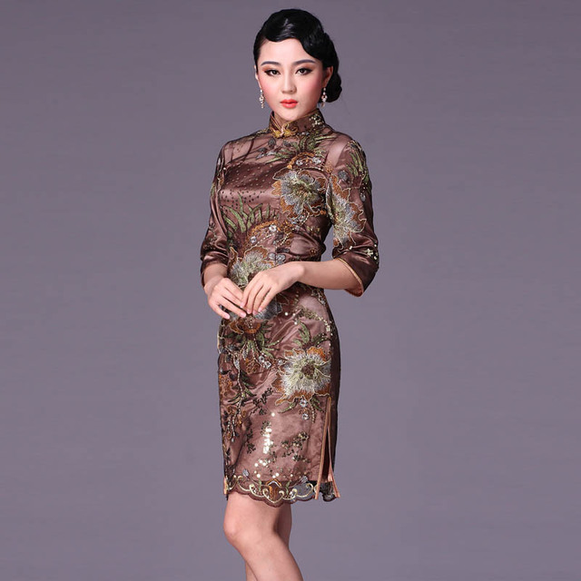Coffee small half sleeve cheongsam fashion lace design sexy short cheongsam dress vintage g95116
