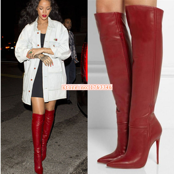 Fashion Style Rihanna High Heels Spring 2015 Pointed Toe Women Boots Shoes Woman Full Grain Leather Women Pumps Over Knee High<br><br>Aliexpress
