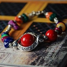 Wholesale Tibetan Charm Alloy Natural Red Coral Beads Gravel Shambhala Bracelets Women Gift Handmade National wind Accessories(China (Mainland))