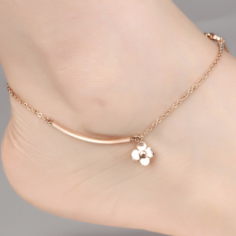 Anklet foot jewelry rose gold anklet bracelet leg chain stainless steel anklets for women bridal foot jewelry w/ flowers GZ017(China (Mainland))