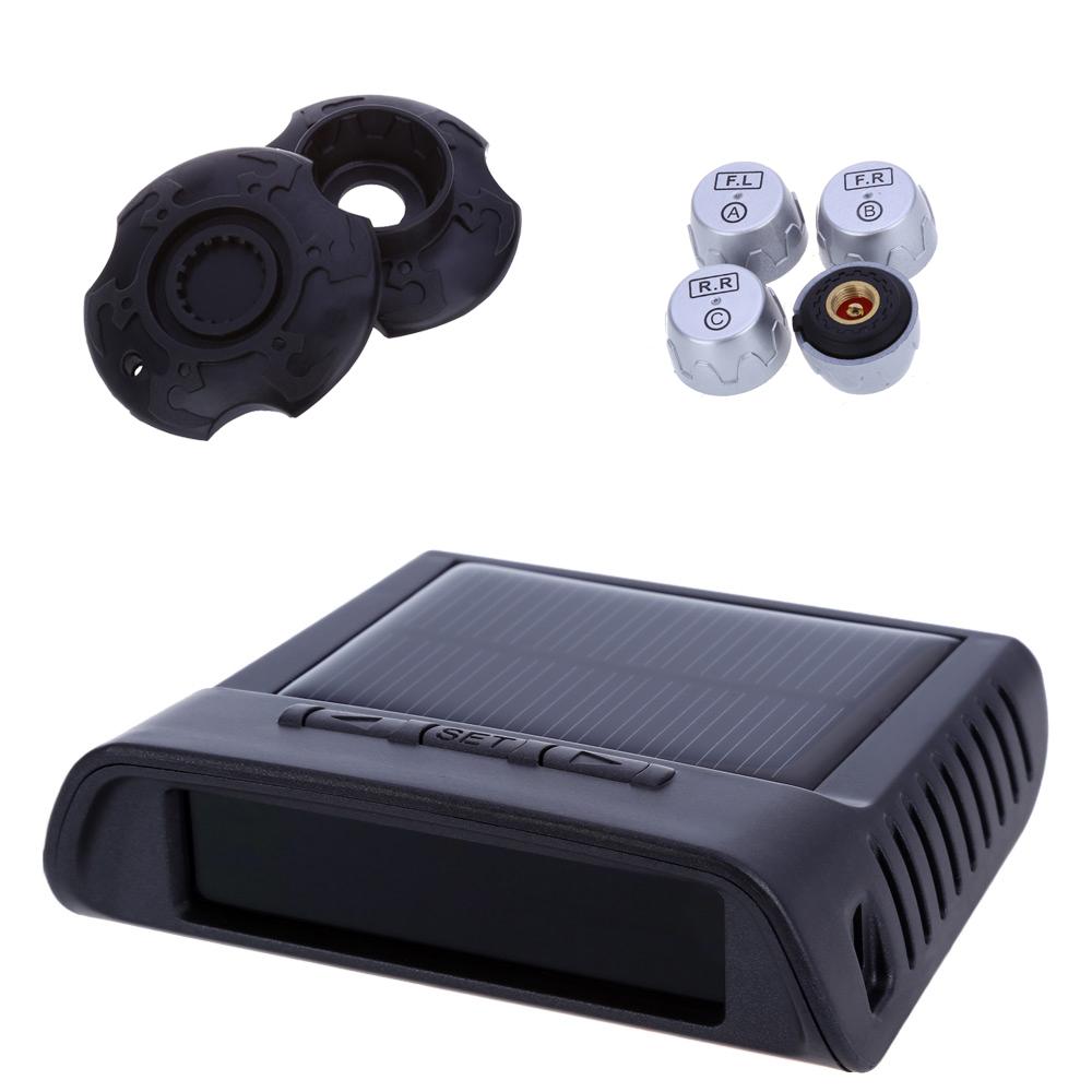 New Tire Pressure Alarm 5V Solar Power 4 Sensors Supply TPMS Car Tire Pressure Monitoring Intelligent System LED Display Screen(China (Mainland))