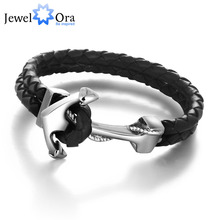 Buy Genuine Leather Anchor Stainless Steel Bracelets & Bangles Male Punk Jewelry 215m Length Mens Bracelet (JewelOra BA101280) for $3.96 in AliExpress store