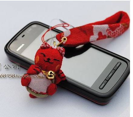 100pcs Japan!! Japanese Collection Lucky Cat chains lovely perfect gift Mobile Phone Strap/Good quality Goods100%(China (Mainland))