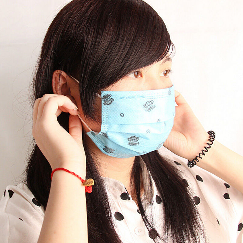 1PC Random Color!! Cute Disposable Surgical Face Salon Dust Ear Loop Medical Mouth Flu Mask(China (Mainland))