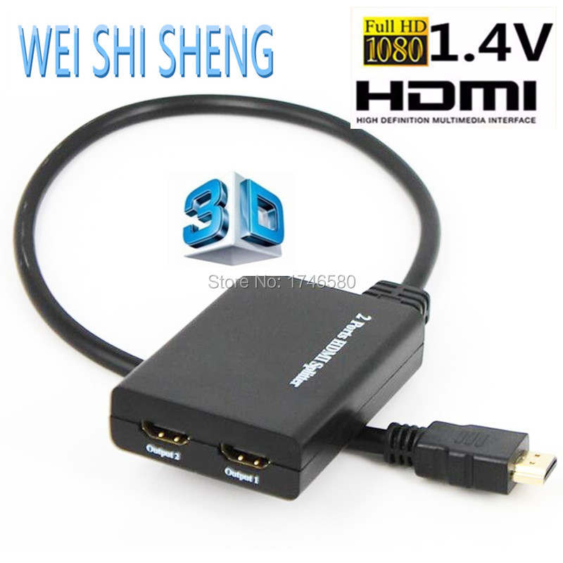 Full 1080P HDMI Splitter 1X2 Ports HDMI 1.4 HDCP 3D Video With USB Power cable Adaptor HDMI Amplifier Splitter 50CM Cable(China (Mainland))