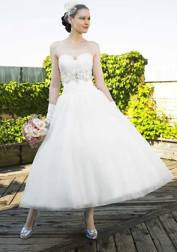 Fahsion 2016 tea length spring garden wedding dress for Bridesmaid dresses for a garden wedding